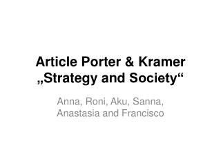 "Article  Porter & Kramer "" Strategy and  Society"""