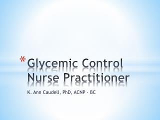 Glycemic Control Nurse Practitioner