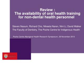 Review : The availability of oral health training for non-dental health personnel