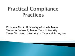 Practical Compliance Practices