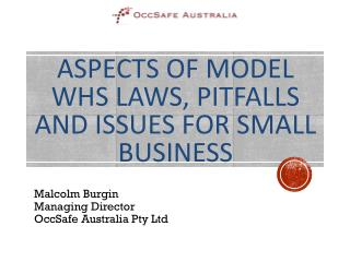 Aspects of Model WHS Laws, Pitfalls and Issues for small business