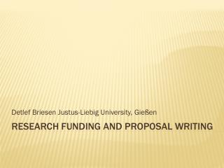 research  funding and proposal  writing