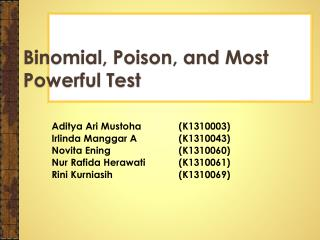 Binomial, Poison, and Most Powerful Test