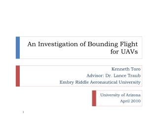 An Investigation of Bounding Flight for UAVs