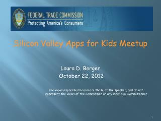 Silicon Valley Apps for Kids  Meetup Laura D. Berger  October 22, 2012