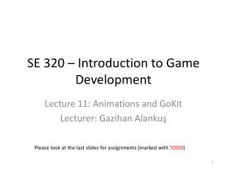 SE 320 � Introduction to Game Development