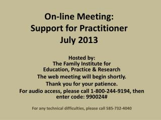 On-line Meeting:  Support  for Practitioner  July 2013