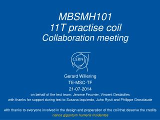 MBSMH101 11T practise coil Collaboration meeting