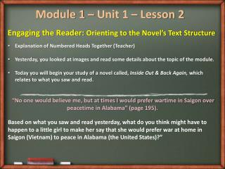 Module 1 – Unit 1 – Lesson 2