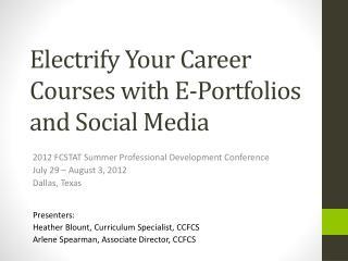 Electrify Your Career Courses with E-Portfolios and Social Media