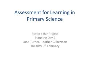 Assessment for Learning in Primary Science