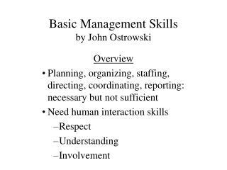 Basic Management Skills by John Ostrowski