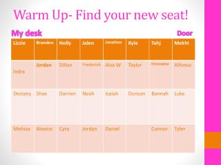 Warm Up- Find your new seat!