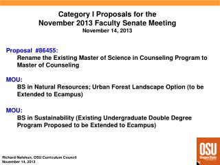 Category I  Proposals  for  the November 2013 Faculty  Senate  Meeting November 14, 2013