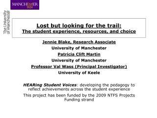Lost but looking for the trail:  The student experience, resources, and choice