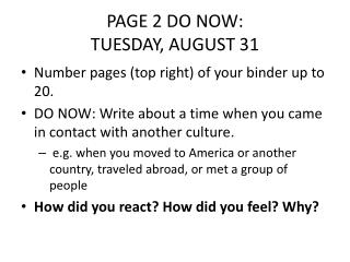PAGE 2 DO NOW:  TUESDAY, AUGUST 31