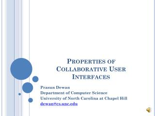 Properties of Collaborative User Interfaces