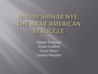 Naomi Shihab Nye:  The Arab American Struggle
