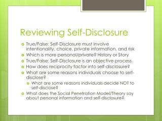 Reviewing Self-Disclosure