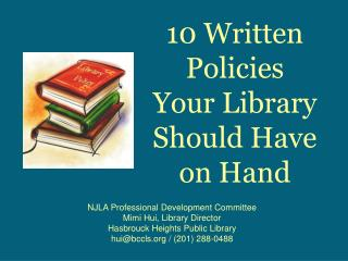 10 Written Policies  Your Library  Should Have  on Hand