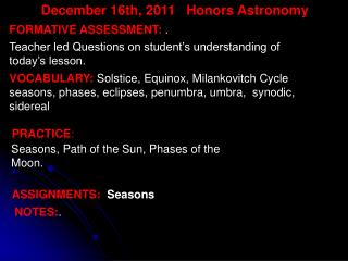 December 16th,  2011   Honors Astronomy