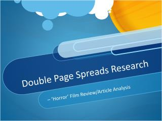 Double Page Spreads Research