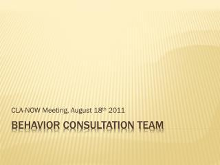 Behavior Consultation Team