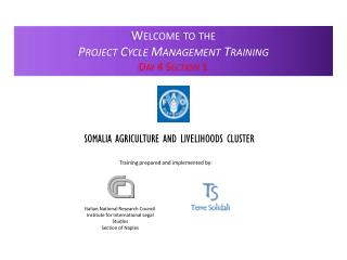 Welcome to the Project Cycle Management Training Day 4 Section 1