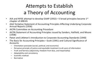 Attempts to Establish  a Theory of Accounting