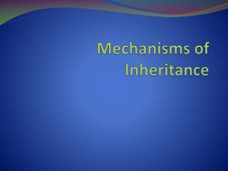 Mechanisms of Inheritance