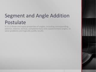 Segment and Angle Addition Postulate