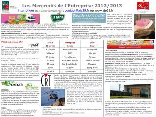 Les Mercredis de l'Entreprise 2012/2013