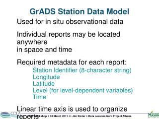 GrADS  Station Data Model