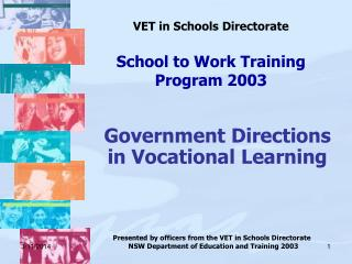 VET in Schools Directorate  School to Work Training Program 2003