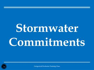 Stormwater Commitments