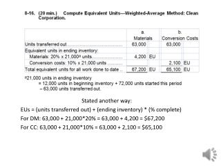 Stated another way: EUs  = (units transferred out) + (ending inventory) * (% complete)