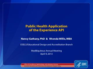 Public  Health Application  of  the Experience  API