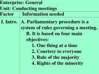 Enterprise: General Unit: Conducting meetings