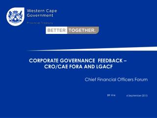 Corporate Governance   FeedBACK  –  CRO/CAE FORA AND  lgacf