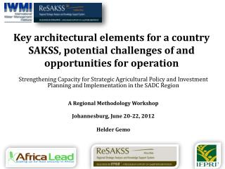 Operationalizing SAKSS in  SADC Countries