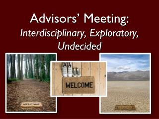 Advisors' Meeting: Interdisciplinary, Exploratory, Undecided