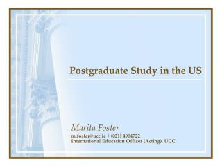 Postgraduate Study in the US