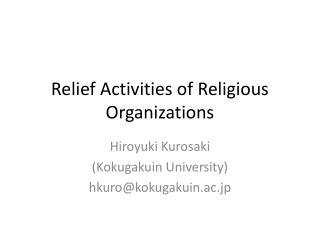 Relief Activities of Religious Organizations