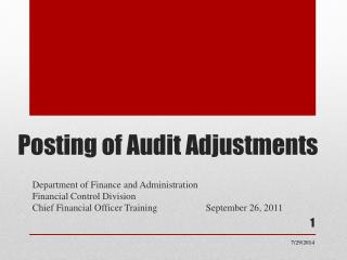 Posting of Audit Adjustments