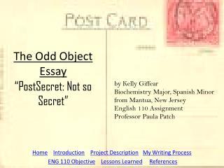 "The Odd Object Essay ""PostSecret: Not so Secret"""