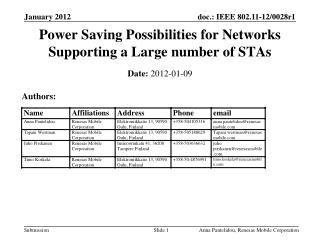 Power Saving Possibilities for Networks Supporting a Large number of STAs