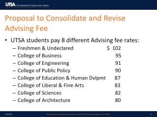 Proposal to Consolidate and Revise Advising Fee