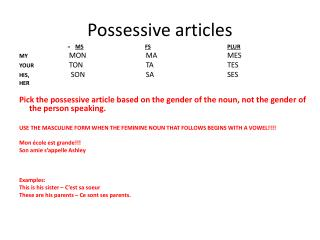 Possessive articles