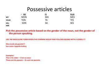 Possessive articles