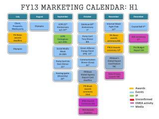 FY13 MARKETING CALENDAR: H1